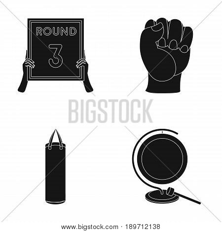 Boxing, sport, round, hand .Boxing set collection icons in black style vector symbol stock illustration .