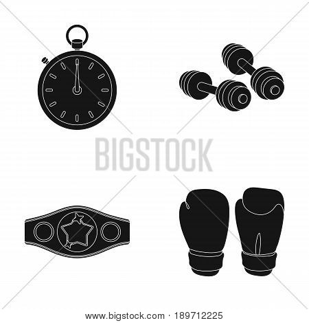 Boxing, sport, stopwatch, watch .Boxing set collection icons in black style vector symbol stock illustration .