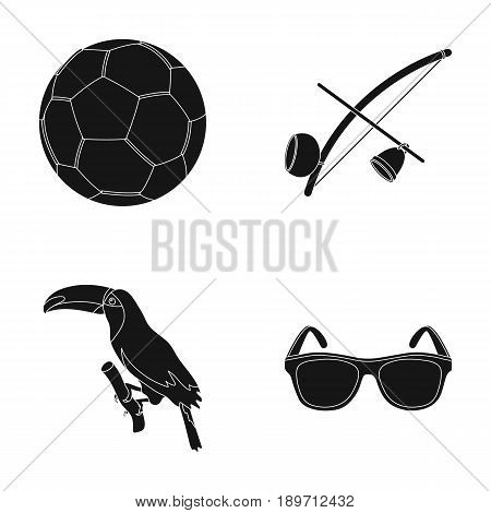 Brazil, country, ball, football . Brazil country set collection icons in black style vector symbol stock illustration .