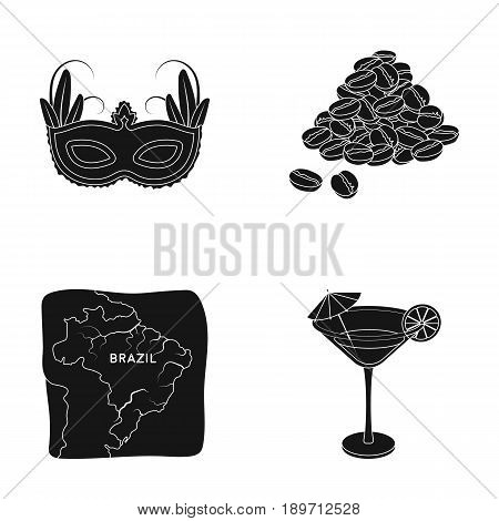 Brazil, country, mask, carnival . Brazil country set collection icons in black style vector symbol stock illustration .