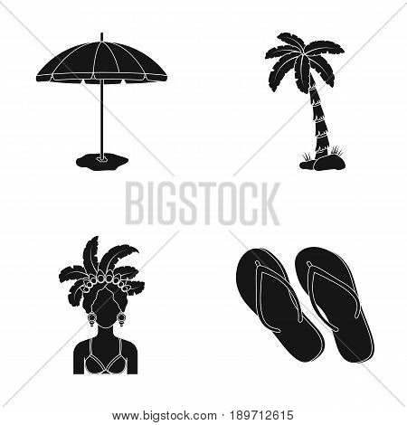 Brazil, country, umbrella, beach . Brazil country set collection icons in black style vector symbol stock illustration .