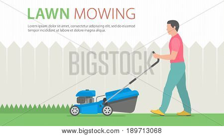 Man mowing the lawn with blue lawn mower