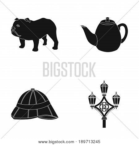 breed dog, teapot, brewer .England country set collection icons in black style vector symbol stock illustration .