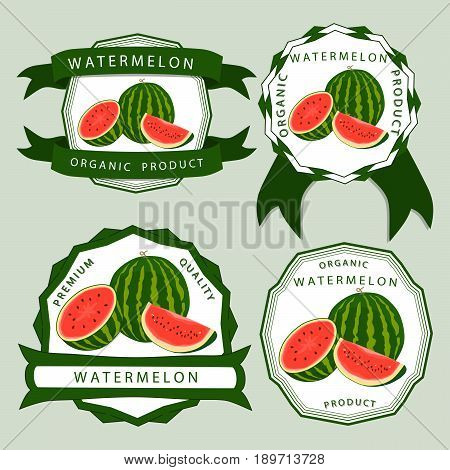 Vector illustration logo for whole ripe red fruit watermelon green stem cut half sliced slice berry with red flesh background.Watermelon drawing from natural sweet food.Eat tropical fruits watermelons