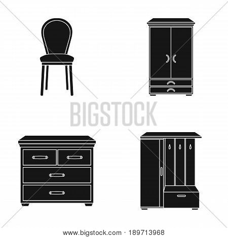 Armchair, cabinet, bedside, table .Furniture and home interiorset collection icons in black style vector symbol stock illustration .