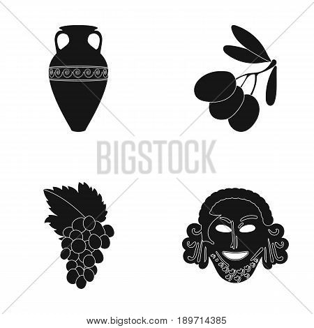 Greece, olive, branch, vase .Greece set collection icons in black style vector symbol stock illustration .