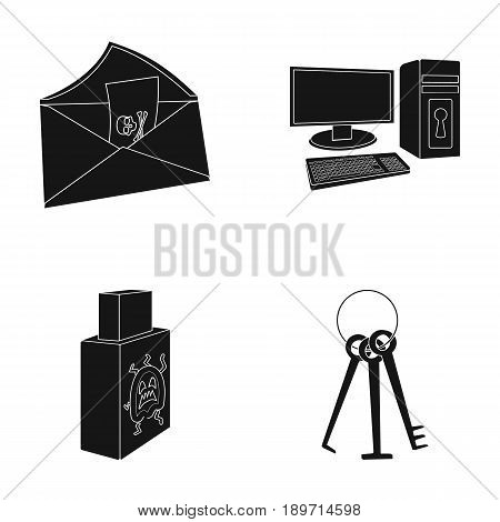 Virus, monitor, display, screen .Hackers and hacking set collection icons in black style vector symbol stock illustration .