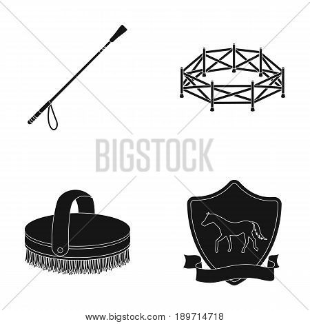 Aviary, whip, emblem, hippodrome .Hippodrome and horse set collection icons in black style vector symbol stock illustration .