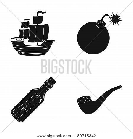Pirate, bandit, ship, sail .Pirates set collection icons in black style vector symbol stock illustration .