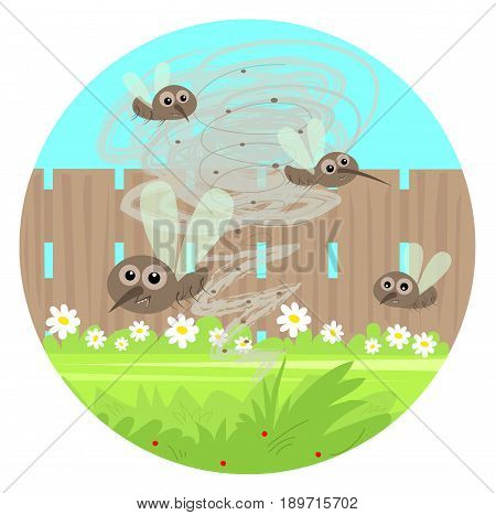 Cartoon clip art of gnats swarm in the yard. Eps10