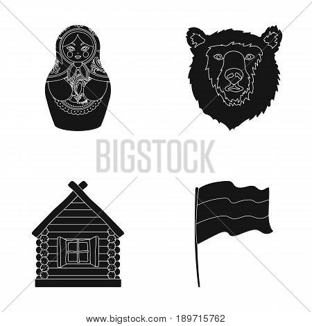 Russia, country, nation, matryoshka .Russia country set collection icons in black style vector symbol stock illustration .