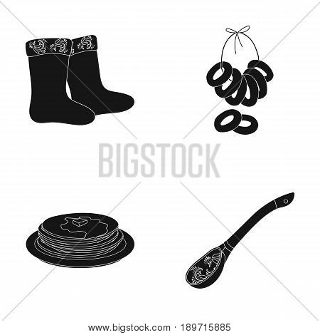 Felt, boots, drying, gingerbread .Russia country set collection icons in black style vector symbol stock illustration .