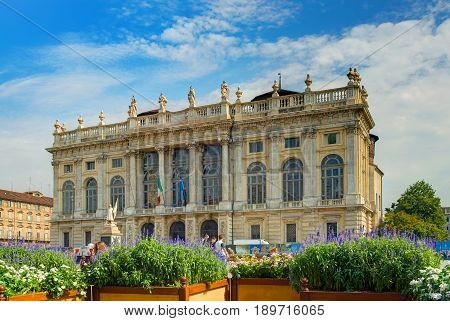 TURIN, ITALY, OCT, 20, 2007: Summer sun day view on Madama palace Palazzo Madama at Piazza Castello in downtown. Italy Italian classic architecture ornaments. Italy holidays vacations tours travels