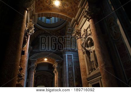 ROME, SEP, 16, 2006: Interior view of San Pietro cathedral church. Ornaments, icons, art painting. Famous religion places, symbols, architecture. Sightseeing places in Italy Rome holidays vacations