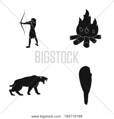 Man, hunter, onion, bonfire .Stone age set collection icons in black style vector symbol stock illustration .