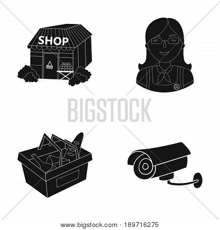 Salesman, woman, basket, plastic .Supermarket set collection icons in black style vector symbol stock illustration .