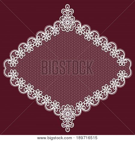 White lace floral element on a maroon background