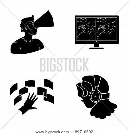 Hand, monitor, headphones, woman .Virtual reality set collection icons in black style vector symbol stock illustration .