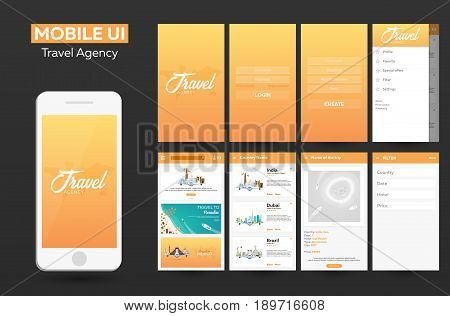 Mobile App Travel Agency Material Design Ui, Ux, Gui. Responsive Website.