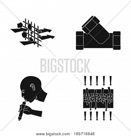 Man, bald, head, hand .Water filtration system set collection icons in black style vector symbol stock illustration .