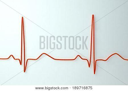 Electrocardiogram on light background. Medical background, 3D illustration
