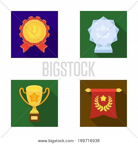 An Olympic medal for the first place, a crystal ball, a gold cup on a stand, a red pendant.Awards and trophies set collection icons in flat style vector symbol stock illustration .