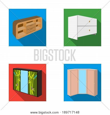 Chest of drawers, wardrobe with mirror, corner cabinet, white chest. Bedroom furniture set collection icons in flat style vector symbol stock illustration .