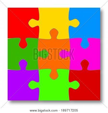Nine colorful puzzle pieces