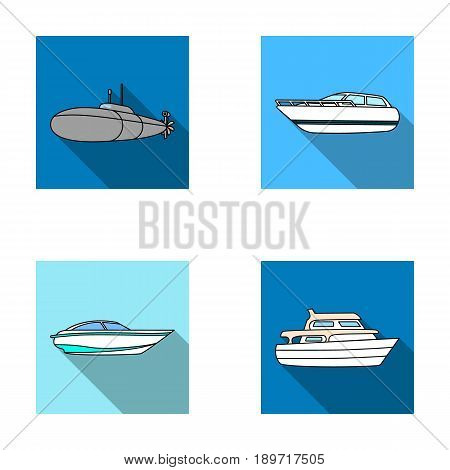 A military submarine, a speedboat, a pleasure boat and a spirit boat.Ships and water transport set collection icons in flat style vector symbol stock illustration .