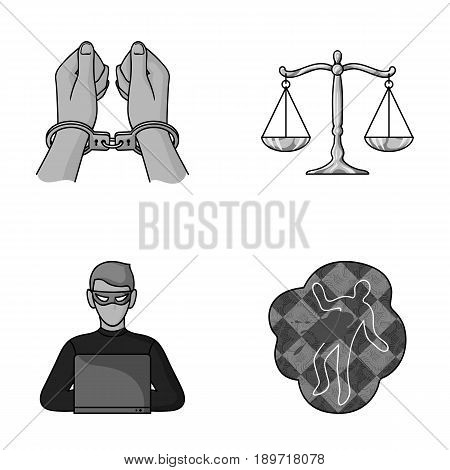 Handcuffs, scales of justice, hacker, crime scene.Crime set collection icons in monochromet style vector symbol stock illustration .