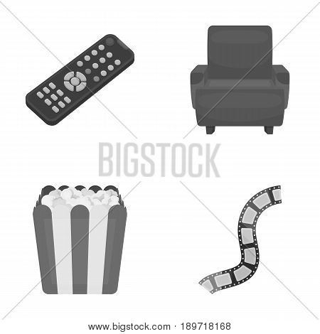 Control panel, an armchair for viewing, popcorn.Films and movies set collection icons in monochrome style vector symbol stock illustration .