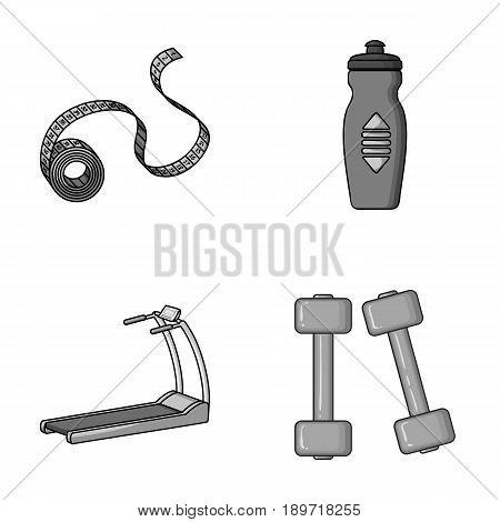 Measuring tape, water bottle, treadmill, dumbbells. Fitnes set collection icons in monochromet style vector symbol stock illustration .