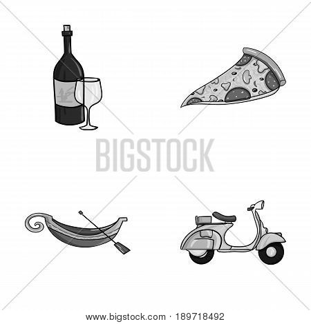 A bottle of wine, a piece of pizza, a gundola, a scooter. Italy set collection icons in monochrome style vector symbol stock illustration .