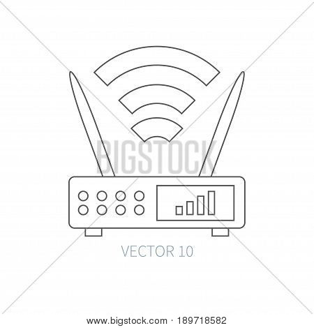 Flat line vector computer part icon - wireless router. Cartoon style. Illustration, element for your design. Simple. Monochrome. Pc collection. IT. Electronic computing systems. Network. Data Chip