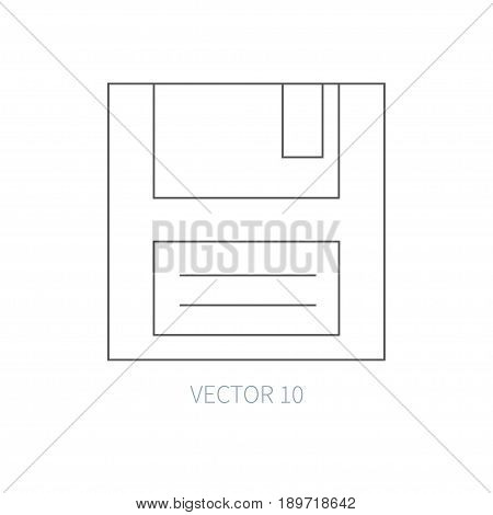 Flat line vector computer part icon - floppy disk. Cartoon style. Illustration, element for your design. Simple. Monochrome. Pc collection. IT. Electronic computing systems. Retro. Data Chip