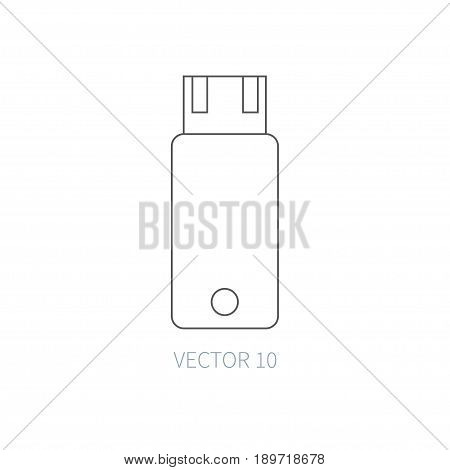 Flat line vector computer part icon - flash drive. Cartoon style. Illustration, element for your design. Simple. Monochrome. Pc collection. IT. Electronic computing systems. Portable. Data Chip