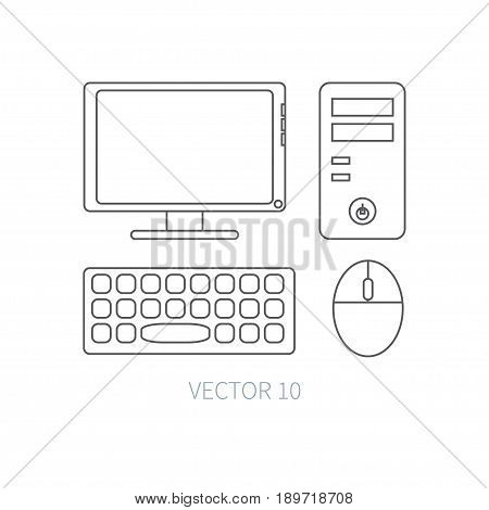 Flat line vector computer set icon. Cartoon style. Illustration, element for your design. Simple. Monochrome. Pc collection. IT. Electronic computing systems. Server. Data Chip System block