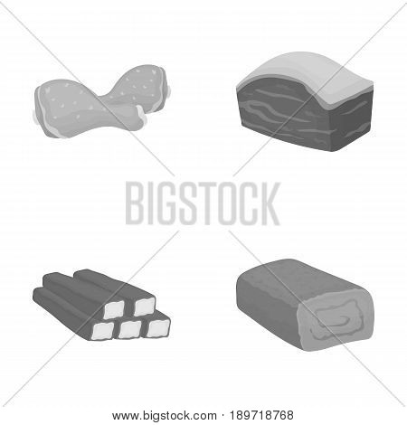 Chicken drumstick, podcherevina, crab sticks, meatloaf. Meat set collection icons in monochrome style vector symbol stock illustration .