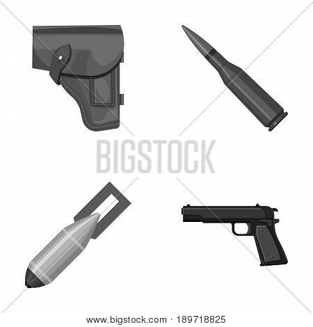Holster, cartridge, air bomb, pistol. Military and army set collection icons in monochrome style vector symbol stock illustration .