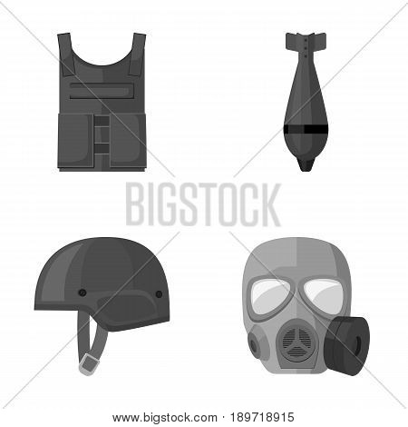 Bullet-proof vest, mine, helmet, gas mask. Military and army set collection icons in monochrome style vector symbol stock illustration .