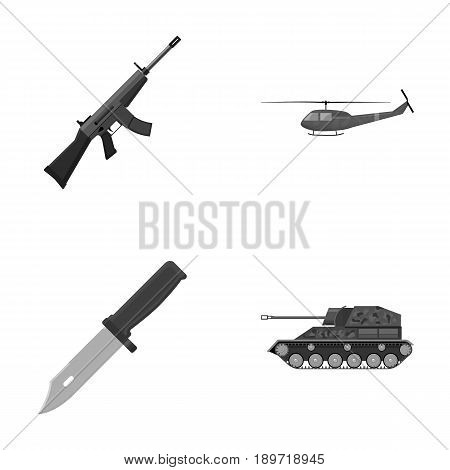 Assault rifle M16, helicopter, tank, combat knife. Military and army set collection icons in monochrome style vector symbol stock illustration .