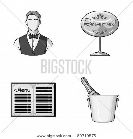 Waiter, reserve sign, menu, champagne in an ice bucket.Restaurant set collection icons in monochrome style vector symbol stock illustration .