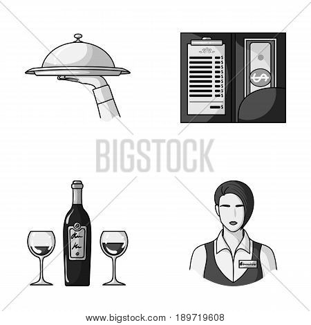 A tray with a cloth, check and cash, a bottle of wine and glasses, a waitress with a badge. Restaurant set collection icons in monochrome style vector symbol stock illustration .