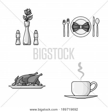 Vase with a flower, table setting, fried chicken with garnish, a cup of coffee.Restaurant set collection icons in monochrome style vector symbol stock illustration .
