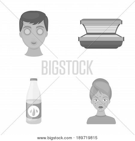 Face mask, solarium, bottle ts lasenom, pimples on face. Skin Care set collection icons in monochrome style vector symbol stock illustration .