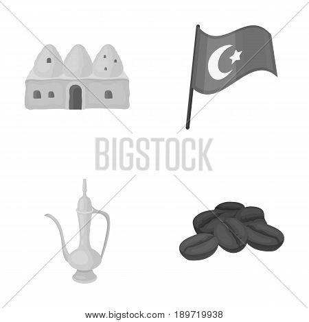 House hive, national flag, coffee pot copper, grains coffee.Turkey set collection icons in monochrome style vector symbol stock illustration .