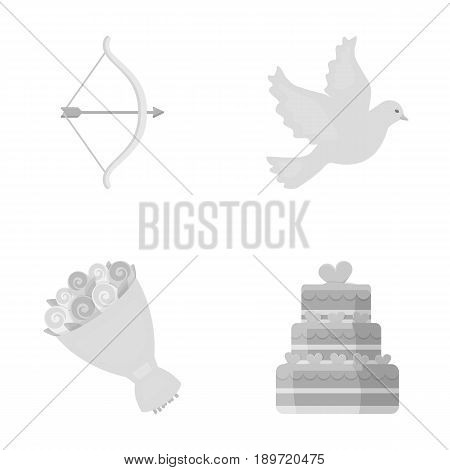 Arrow cupid, dove, bouquet of flowers, wedding cake. Wedding set collection icons in monochrome style vector symbol stock illustration .
