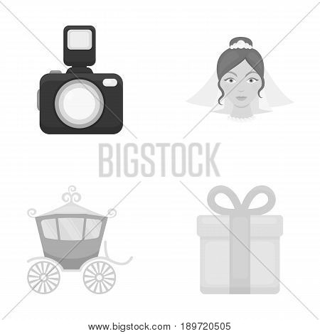 Bride, photographing, gift, wedding car. Wedding set collection icons in monochrome style vector symbol stock illustration .