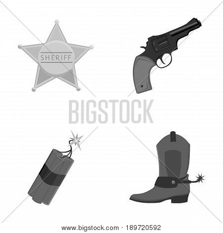 Star sheriff, Colt, dynamite, cowboy boot. Wild West set collection icons in monochrome style vector symbol stock illustration .