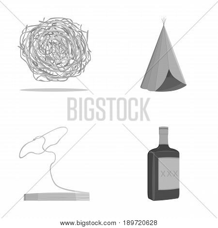 Roll-field, Indian wigwam, lasso, whiskey bottle. Wild West set collection icons in monochrome style vector symbol stock illustration .